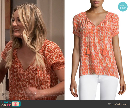 Joie Masha Seahorse Print Top worn by Kaley Cuoco on The Big Bang Theory