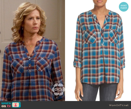 Joie 'Nelia' Plaid Silk Top worn by Nancy Travis on Last Man Standing