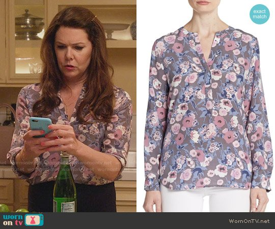 Joie Peterson Floral Silk Blouse worn by Lauren Graham on Gilmore Girls