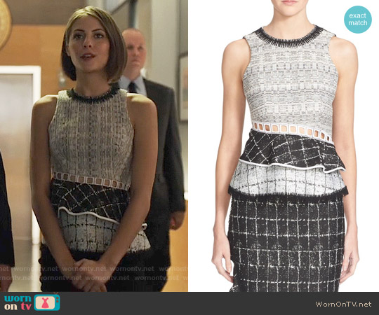 Jonathan Simkhai Open Back Ruffle Top worn by Willa Holland on Arrow