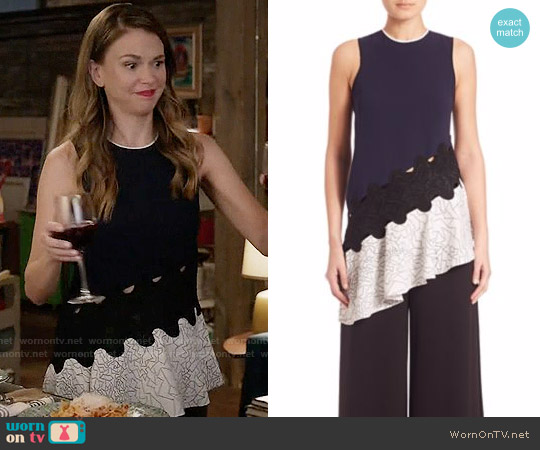 Jonathan Simkhai Asymmetrical Constellation-Print Top worn by Sutton Foster on Younger
