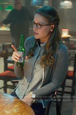 Kara's grey cardigan with white trim on Supergirl