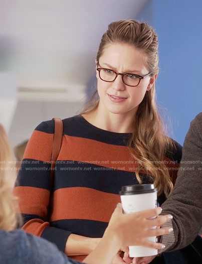 Kara's orange and navy striped sweater on Supergirl
