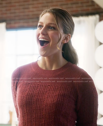 Kara's red textured sweater on Supergirl