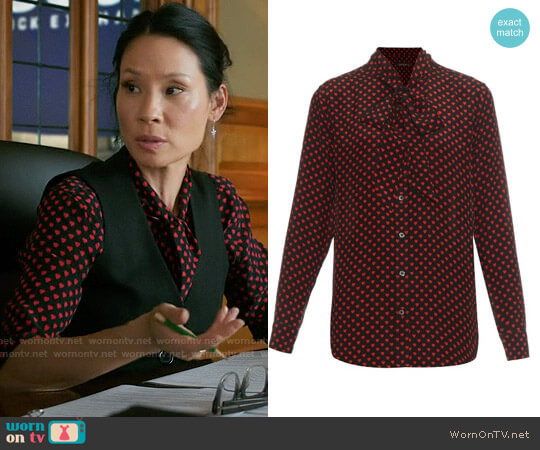 Kate Moss for Equipment Tie-Neck Silk Blouse in Chery Red worn by Joan Watson (Lucy Liu) on Elementary