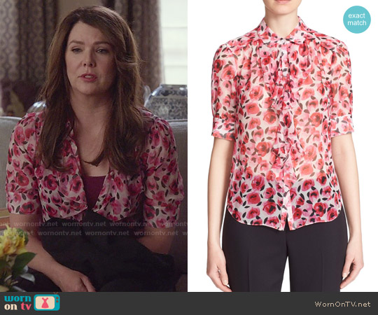 Kate Spade Rose Print Ruffle Silk Shirt worn by Lauren Graham on Gilmore Girls