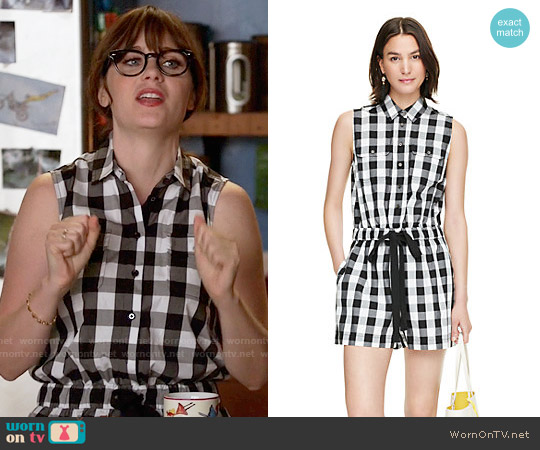 b846c53ea5f9 Kate Spade Gingham Romper worn by Jessica Day (Zooey Deschanel) on New Girl