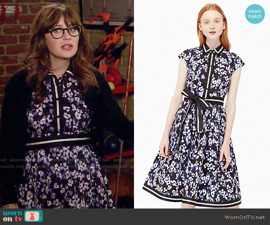 Kate Spade Hydrangea Cotton Shirtdress worn by Zooey Deschanel on New Girl
