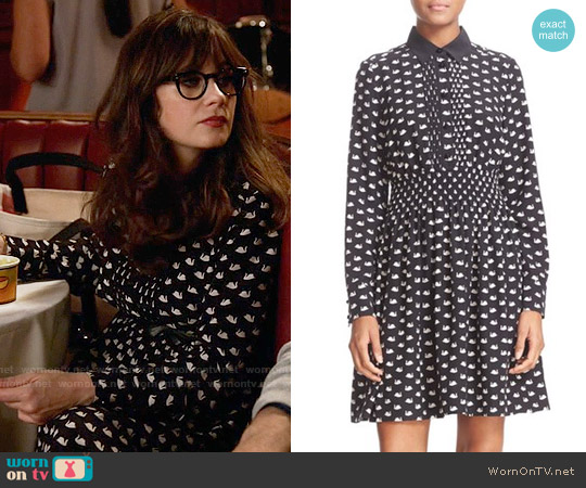 Kate Spade Swan Print Silk Blend Shirtdress worn by Jessica Day (Zooey Deschanel) on New Girl