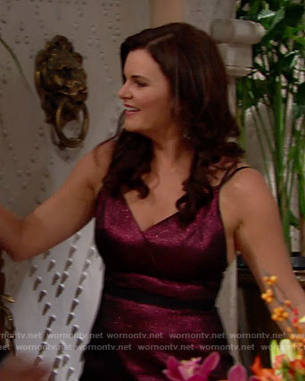Katie's purple metallic Thanksgiving dress on The Bold and the Beautiful