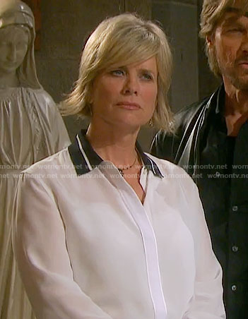 Kayla's white shirt with black stripe collar on Days of our Lives