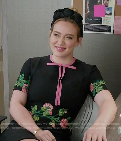 Kelsey's black floral embroidered dress with pink bow on Younger