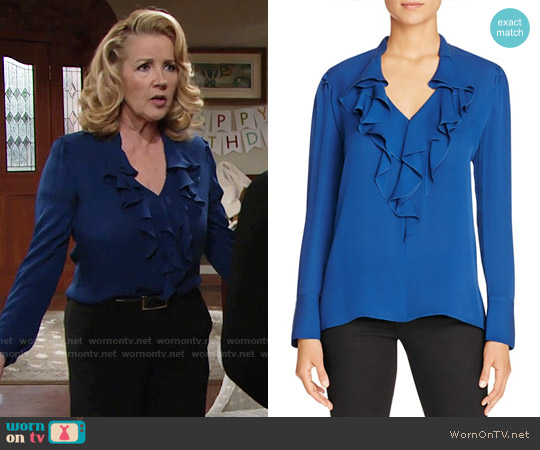 Kobi Halperin Marina Ruffle Silk Blouse worn by Nikki Reed Newman (Melody Thomas-Scott) on The Young & the Restless
