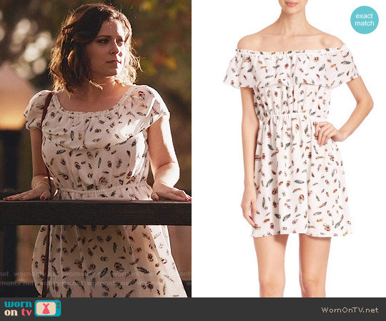 The Kooples Off-The-Shoulder Feather-Print Silk Dress worn by Rebecca Bunch (Rachel Bloom) on Crazy Ex-Girlfriend