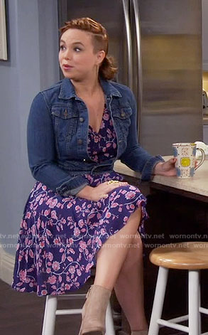 Kristin's blue and pink floral dress on Last Man Standing