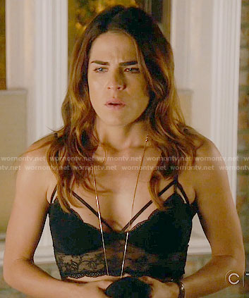 Laurel's black lace bralette on How to Get Away with Murder