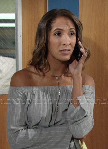 Lily's greystriped off-shoulder top on The Young and the Restless