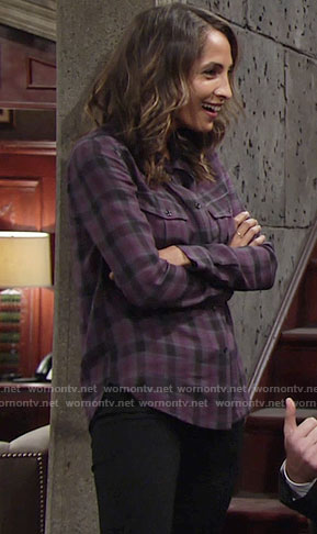 Lily's purple plaid shirt on The Young and the Restless