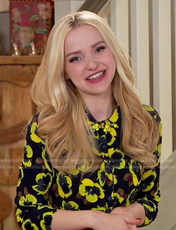 Liv's black and yellow floral button front top on Liv and Maddie