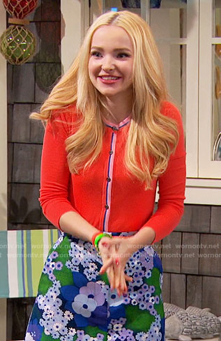 Liv's blue and green floral skirt and coral cardigan on Liv and Maddie