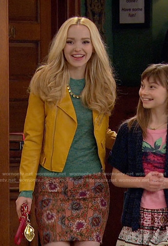 Liv's yellow leather jacket and orange floral skirt on Liv and Maddie