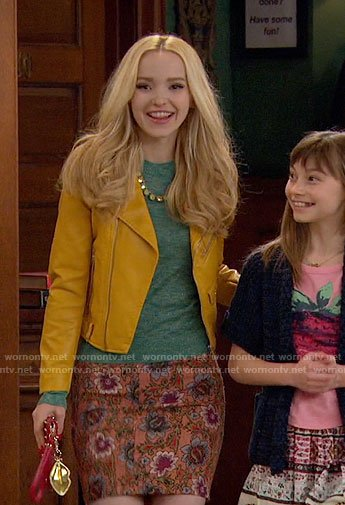 Liv's yellow leather jacket and floral skirt on Liv and Maddie