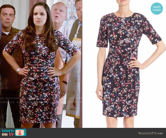 LK Bennett Polena Floral-Print Sheath Dress worn by Amy Santiago (Melissa Fumero) on Brooklyn Nine-Nine