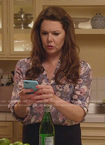 Lorelai's grey and pink floral blouse on Gilmore Girls: A Year in the Life