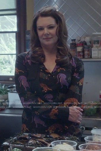Lorelai's leopard print dress on Gilmore Girls: A Year in the Life