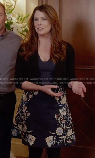 Lorelai's navy embroidered a-line dress on Gilmore Girls: A Year in the Life
