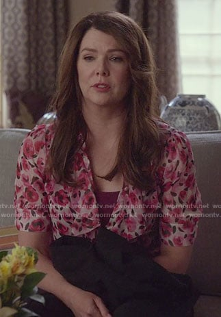 Lorelai's pink floral ruffled blouse on Gilmore Girls: A Year in the Life