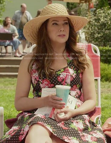 Lorelai's polka dot and floral dress on Gilmore Girls: A Year in the Life