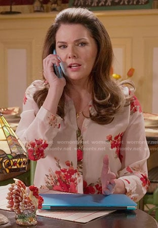 Lorelai's red floral blouse on Gilmore Girls: A Year in the Life