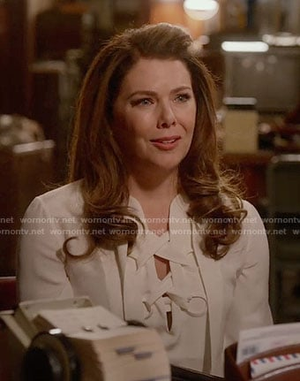 Lorelai's white lace-up blouse on Gilmore Girls: A Year in the Life