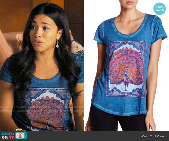 Lucky Brand Peacock Tee worn by Gina Rodriguez on Jane the Virgin