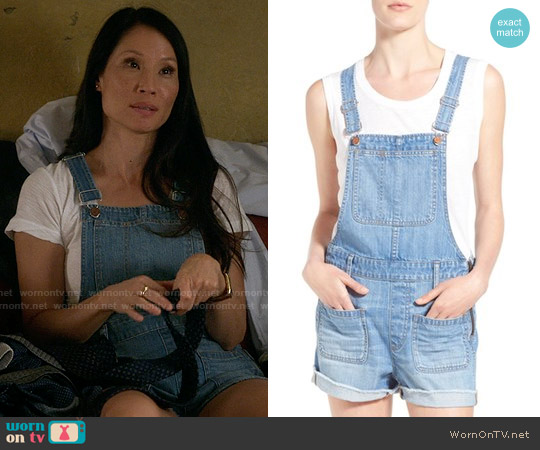 Madewell 'Adirondack' Cutoff Denim Short Overalls worn by Joan Watson (Lucy Liu) on Elementary