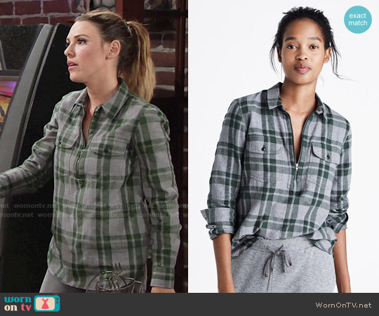 Madewell Flannel Zip-Front Popover Shirt in Washburn Plaid worn by Elizabeth Hendrickson on The Young & the Restless
