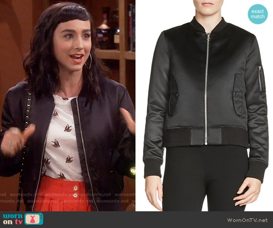 Maje Bart Satin Bomber worn by Mandy Baxter on Last Man Standing