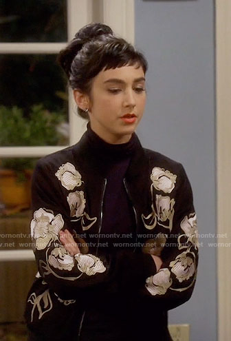 Mandy's black floral embroidered bomber jacket on Last Man Standing