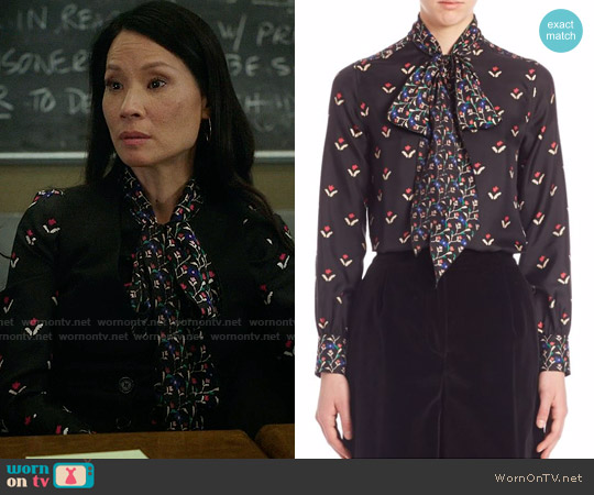 Marc Jacobs Printed Long Sleeves Top worn by Joan Watson (Lucy Liu) on Elementary