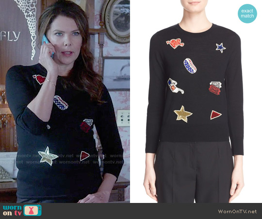 Marc Jacobs Embroidered Patch Wool Sweater worn by Lauren Graham on Gilmore Girls