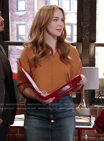 Mariah's orange blouse and denim skirt on The Young and the Restless