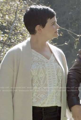 Mary's white geometric patterned blouse on Once Upon a Time
