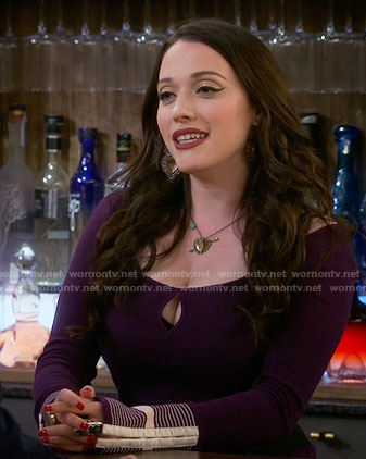 Max's purple keyhole top with embroidered cuffs on 2 Broke Girls