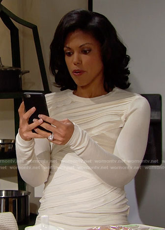 Maya's off-white criss-cross front sweater on The Bold and the Beautiful
