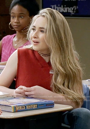 Maya's red sleeveless hoodie on Girl Meets World