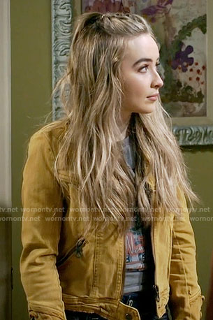 Maya's yellow jacket with lace-up sleeves on Girl Meets World