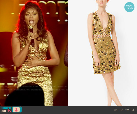 Michael Kors Floral Metallic-Embroidered Brocade Dress worn by Taraji P. Henson on Empire