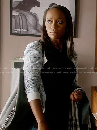 Michaela's blue and white printed cardigan on How to Get Away with Murder