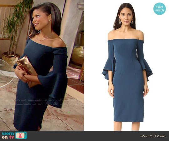 Milly Selena Dress in Peacock worn by Maya Avant (Karla Mosley) on The Bold & the Beautiful